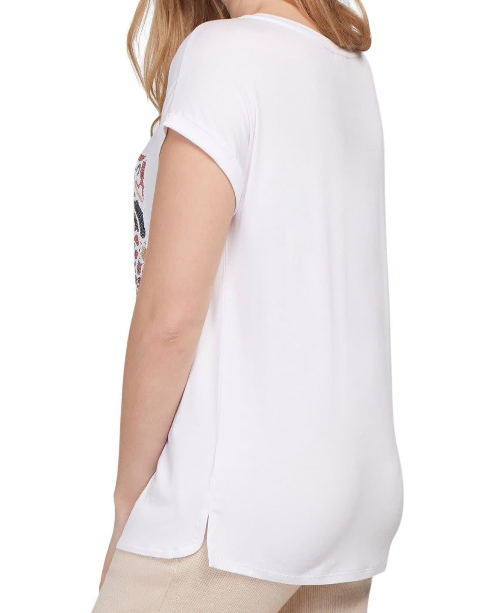 Tribal White Short Sleeve Top w/Sequin Applique