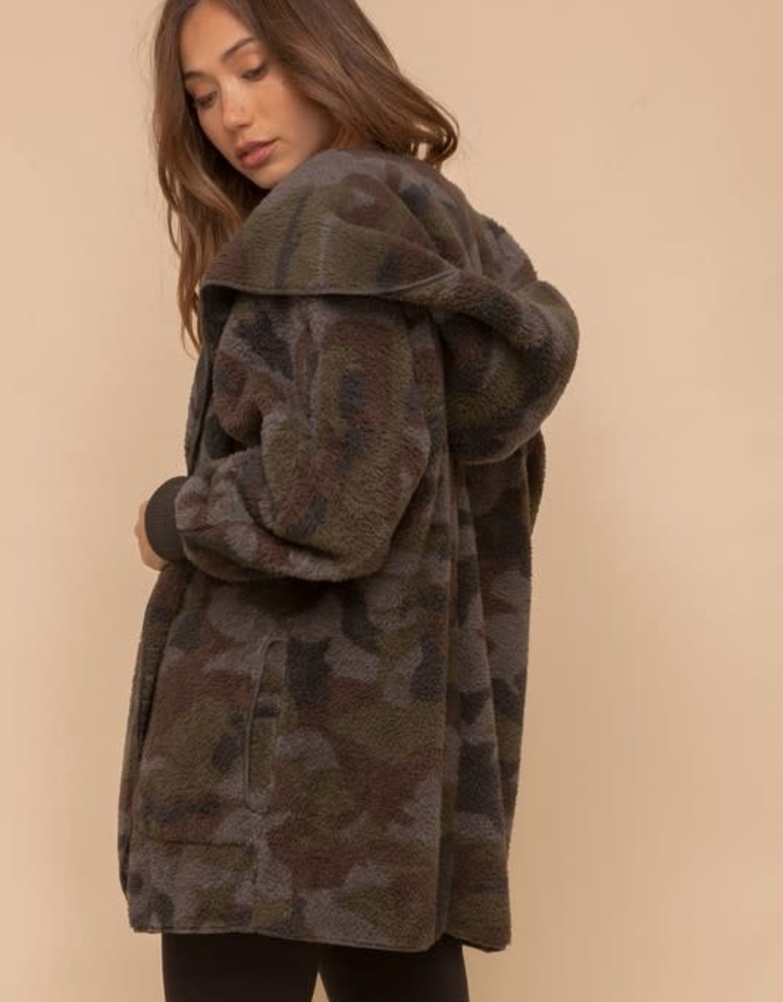 - Camo Print Open Fur Jacket
