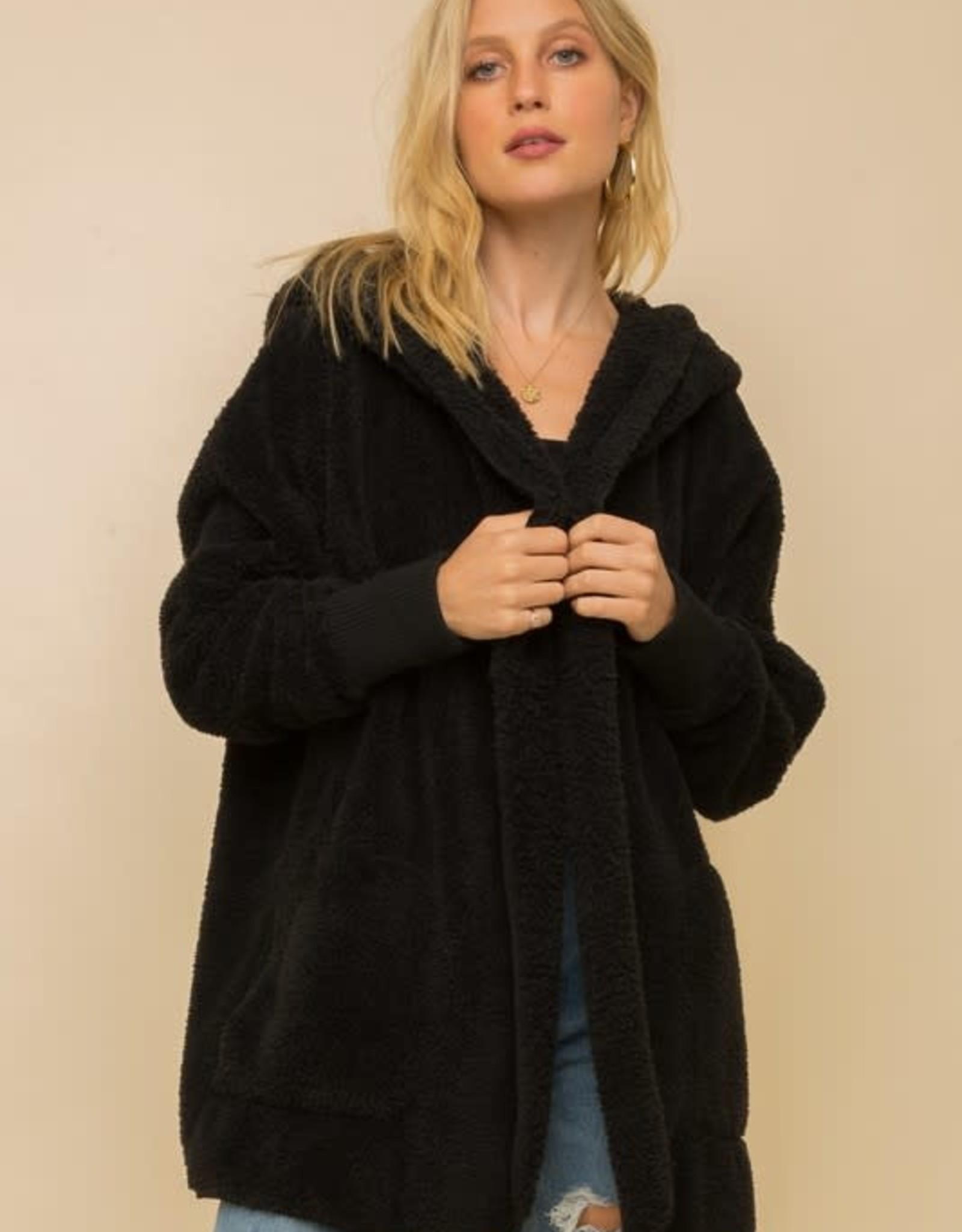 - Black Open Fur Jacket