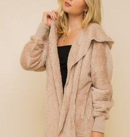 - Taupe Open Fur Jacket