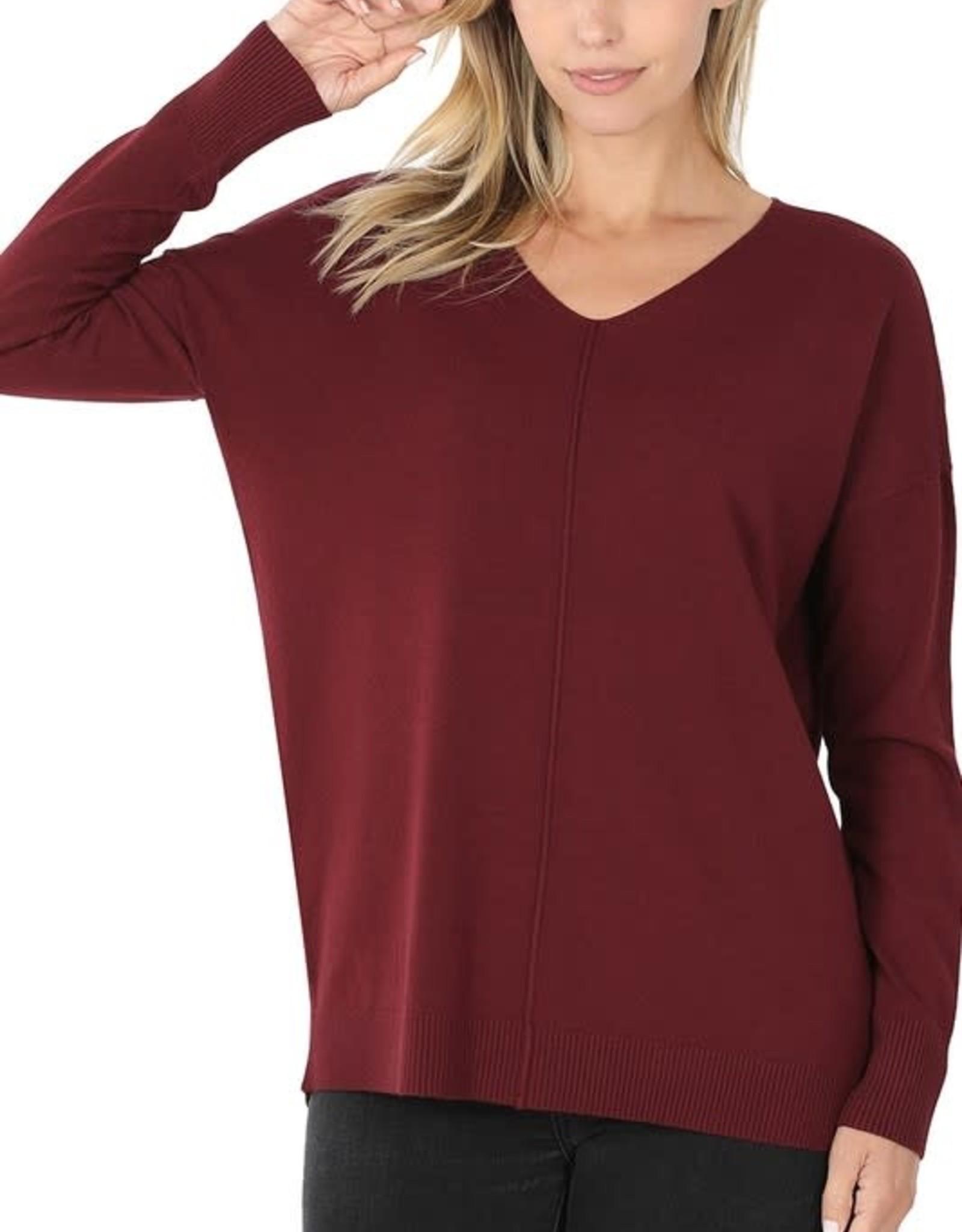 - Dark Burgundy V-Neck Sweater w/Center Seam