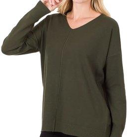 - Dark Olive V-Neck Sweater w/Center Seam