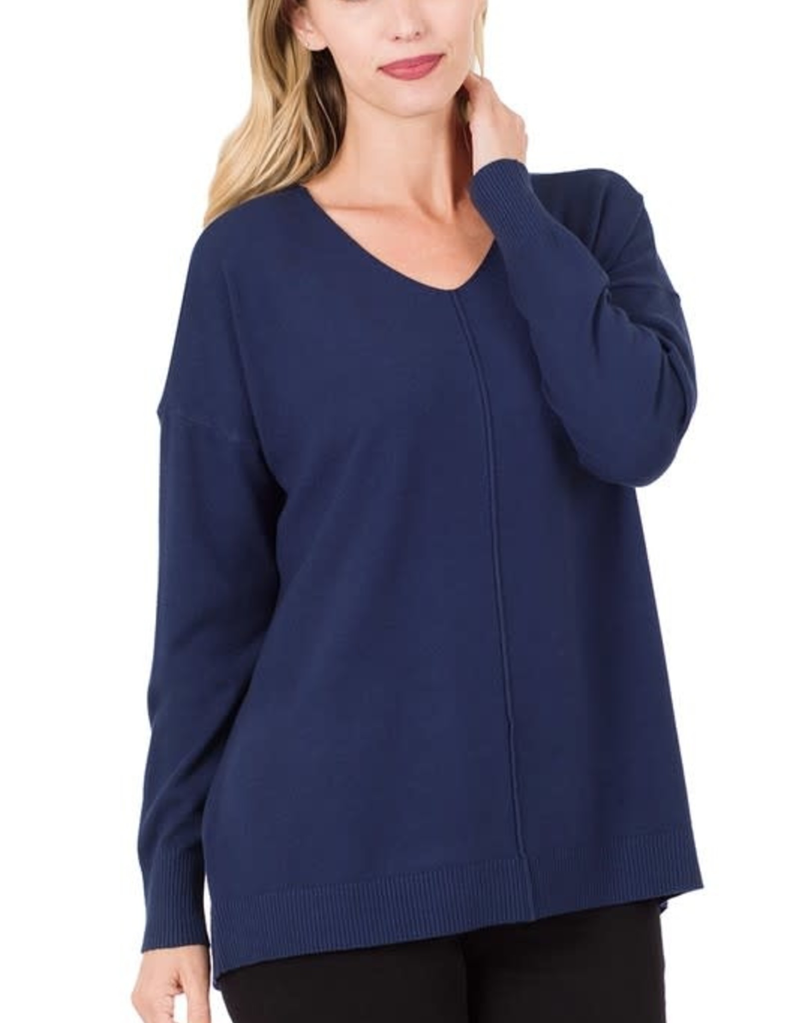 - Navy V-Neck Sweater w/Center Seam