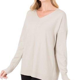 - Sand Beige V-Neck Sweater w/Center Seam