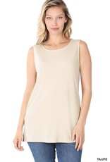 - Taupe Scoop Neck Tank w/Side Slits