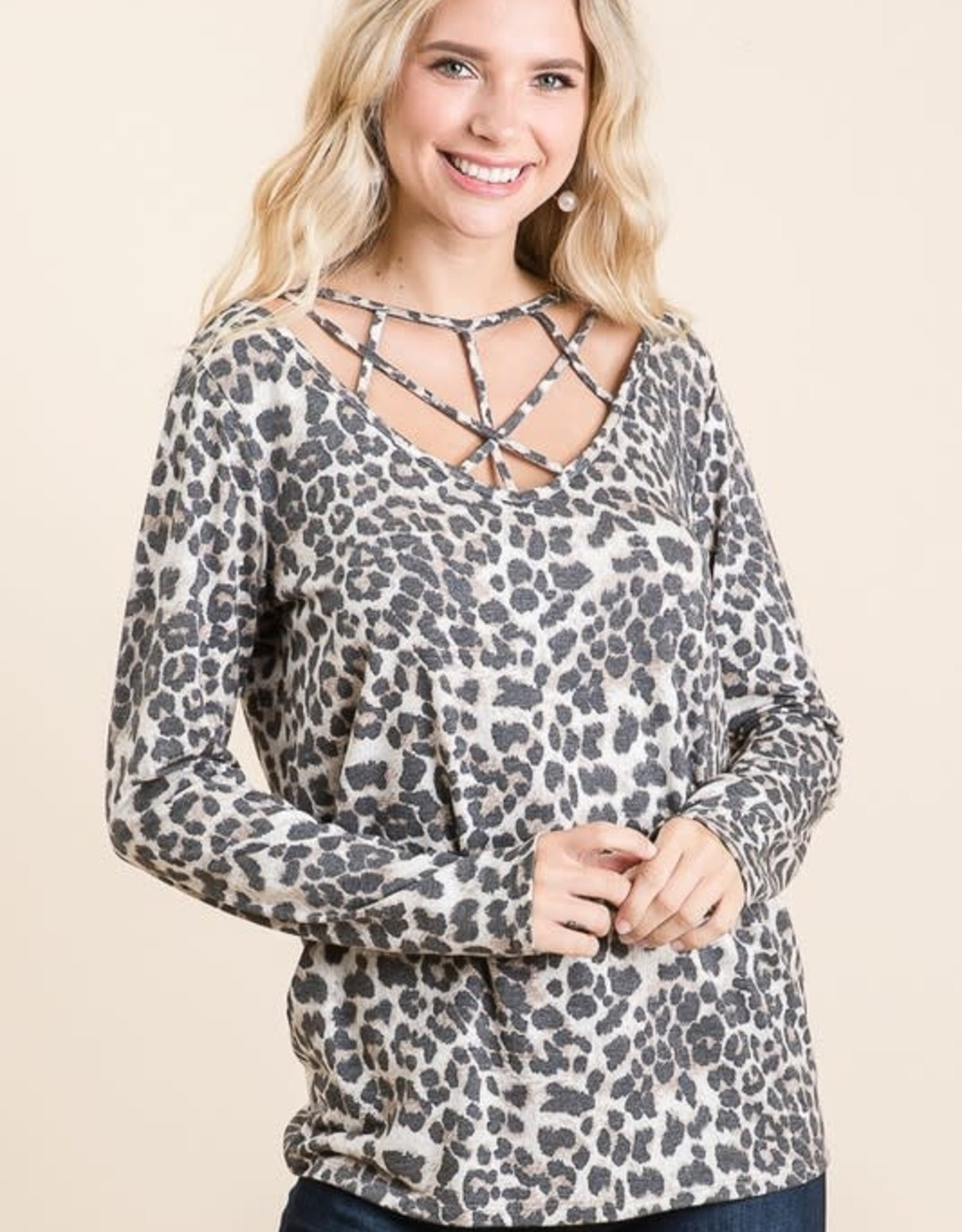- Animal Print  Long Sleeve Top  w/ Criss Cross