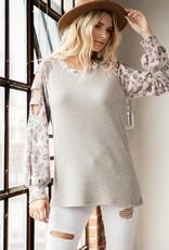 - Grey Animal Print Top  w/ Ladder Sleeve