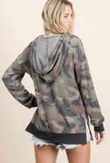 - Camo Print Long Sleeve Top  w/ Hoodie
