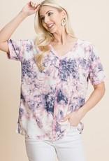 - Pink Tie Dye Print Waffle Knit V-Neck Short Sleeve Top