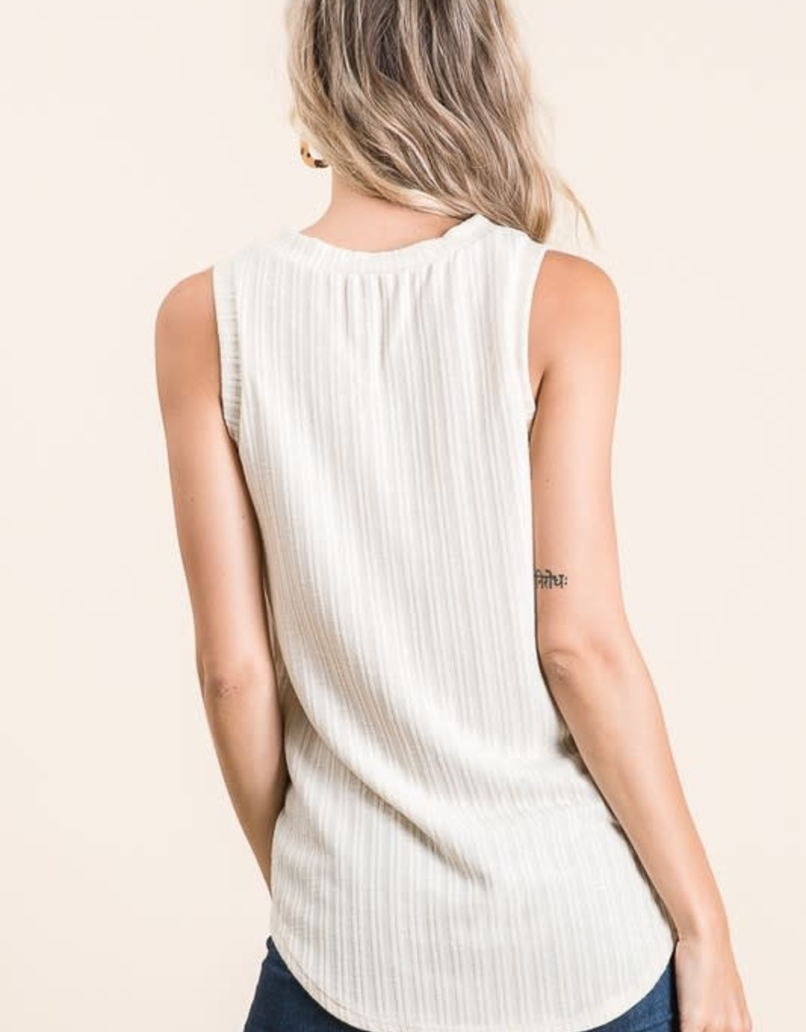 - Sand Soft Rib Fabric Tank Top w/ Faux Button