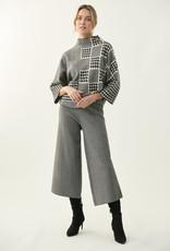 Joseph Ribkoff Black/Vanilla Houndstooth Sweater Top