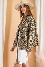 - Khaki Leopard Print Oversized Jacket