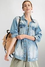- Washed Long Distressed Denim Jacket