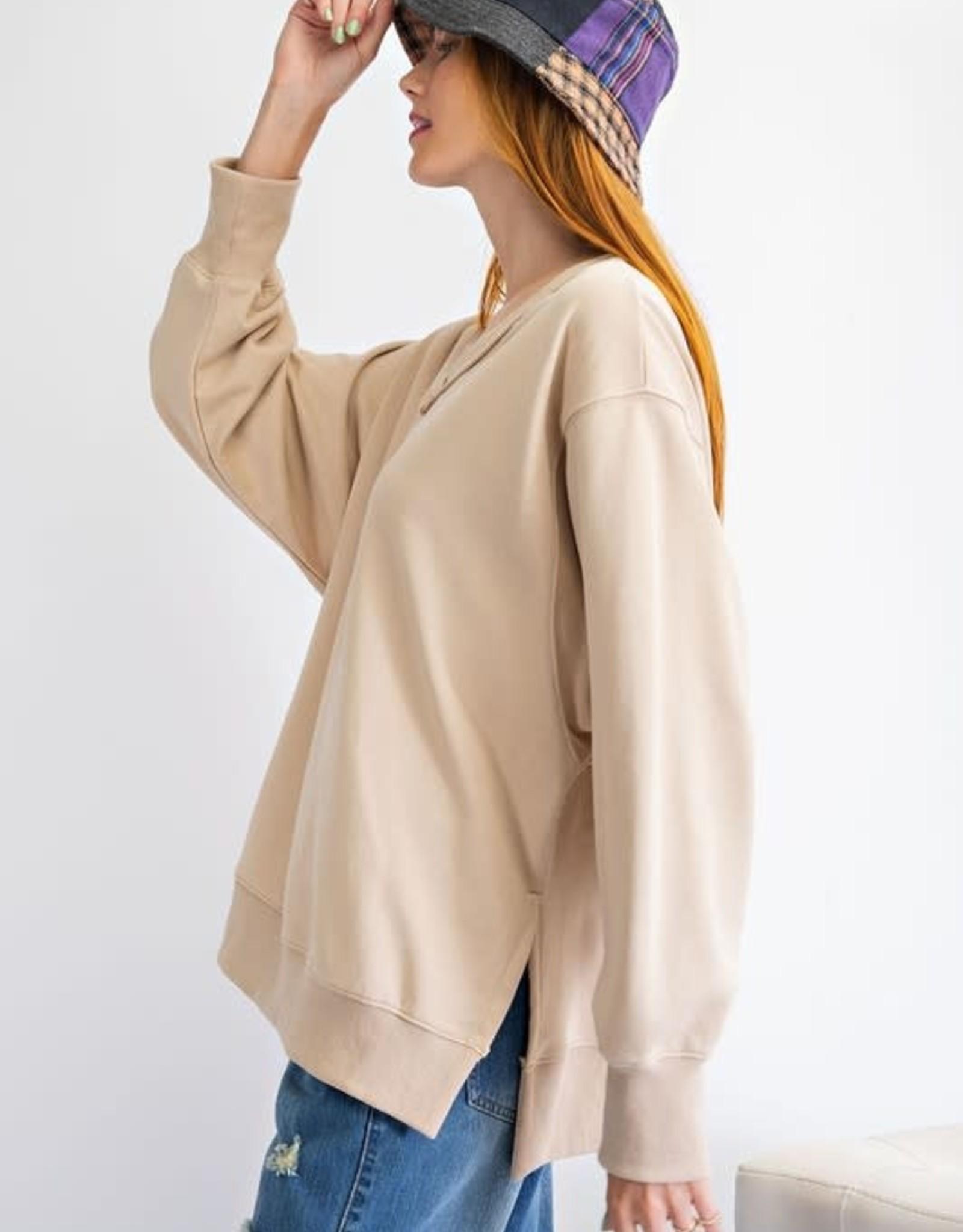 - Lt Camel Long Sleeve Terry Knit V-Neck Loose Fit