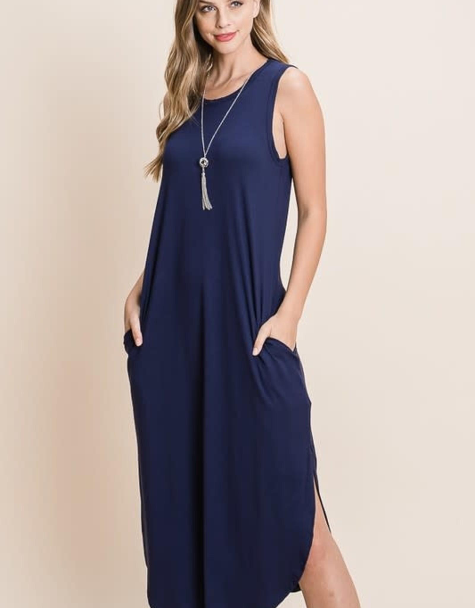 - Navy Sleeveless Midi Basic Dress