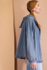 - Denim Blue Mineral Washed Terry Zip-Up Hoodie