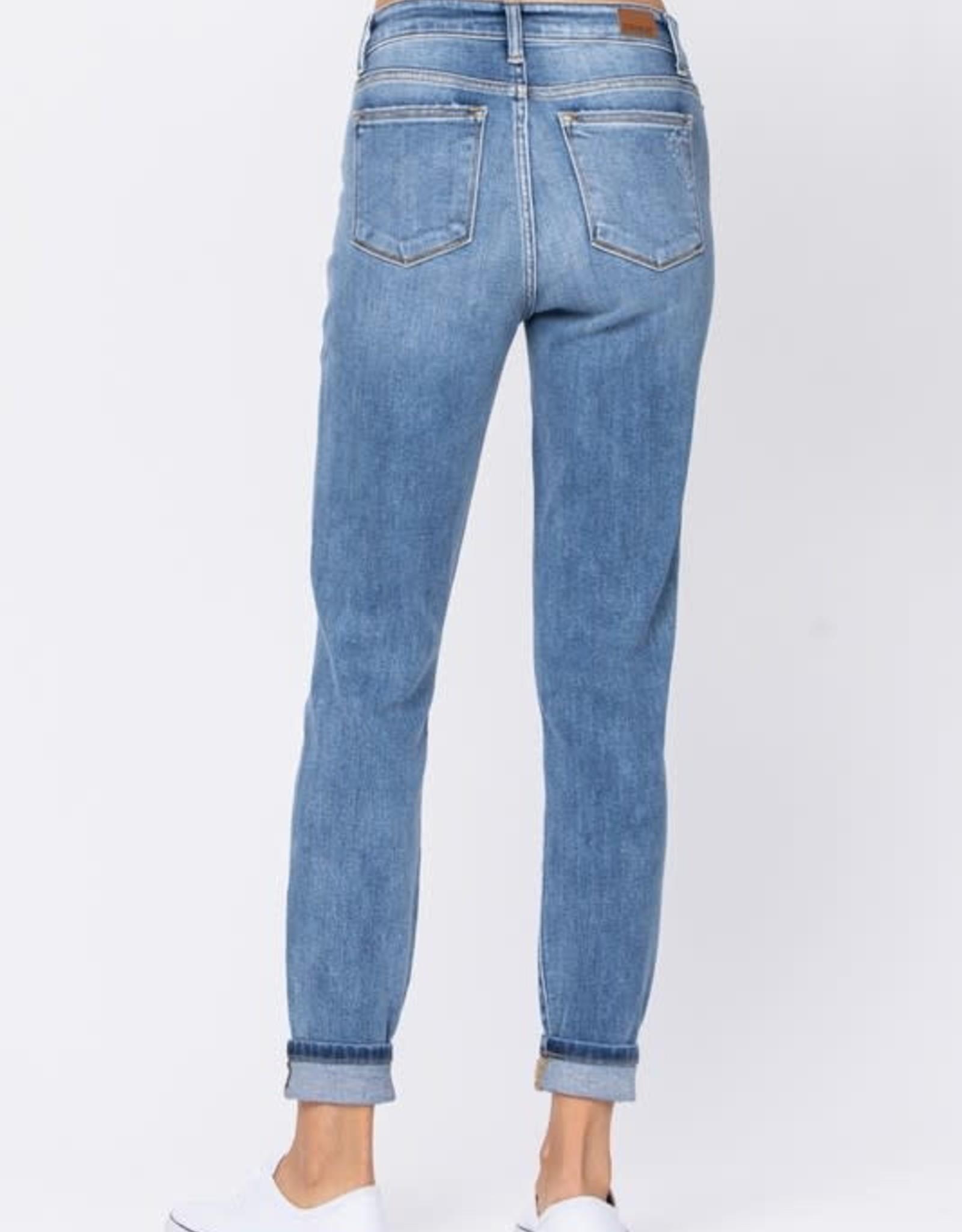 - Medium Wash High Waist Slim Fit Cuffed Jean
