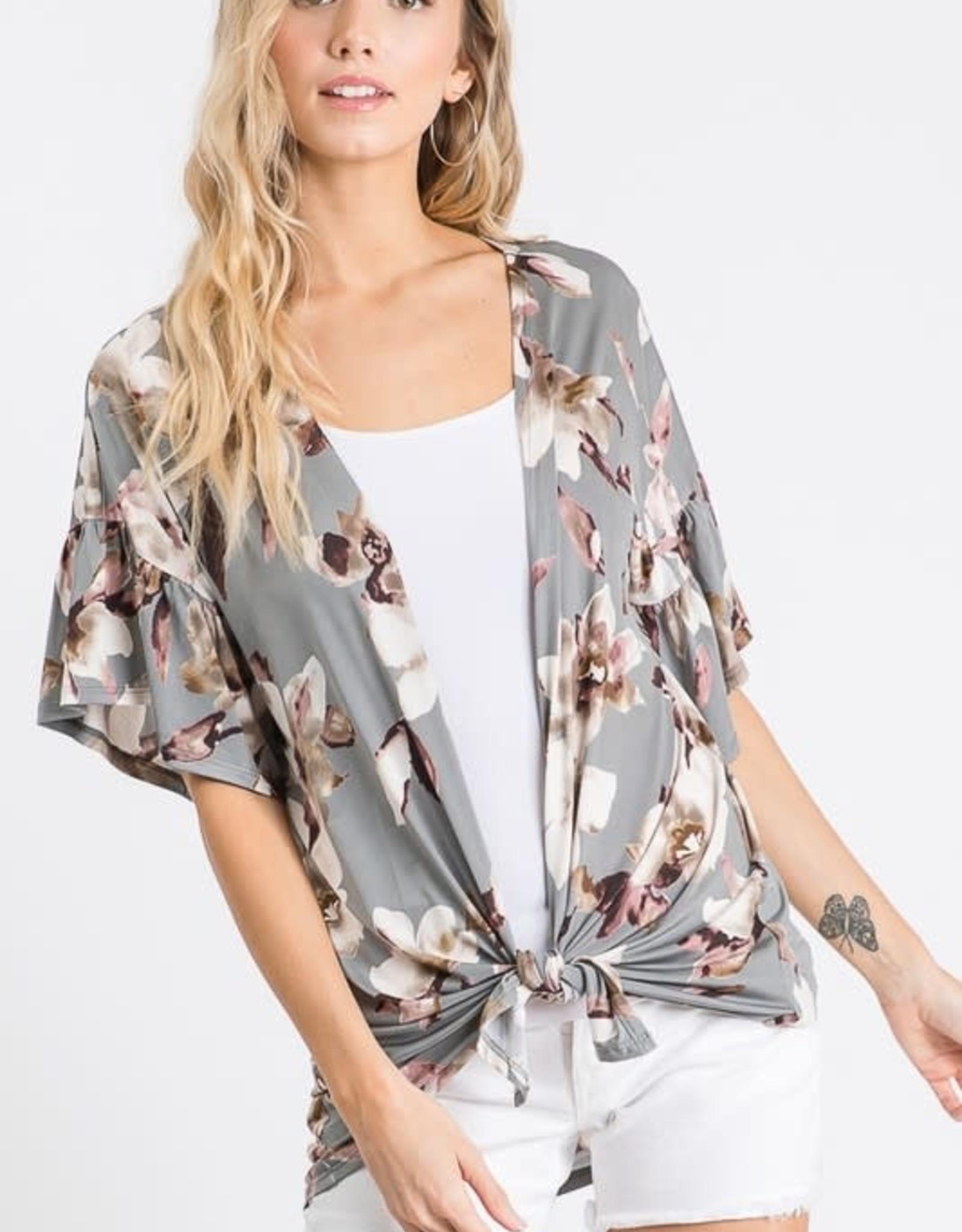 - Grey Floral Print Cardigan w/Ruffle Sleeve