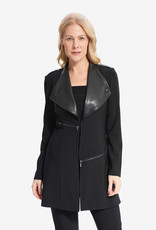 Joseph Ribkoff Black Blazer Style Jacket w/Faux Leather Details