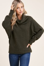 - Olive Cowl Neck Dolman Sleeve Ribbed Sweater