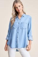 - Denim Button-Up Shirt w/Collar