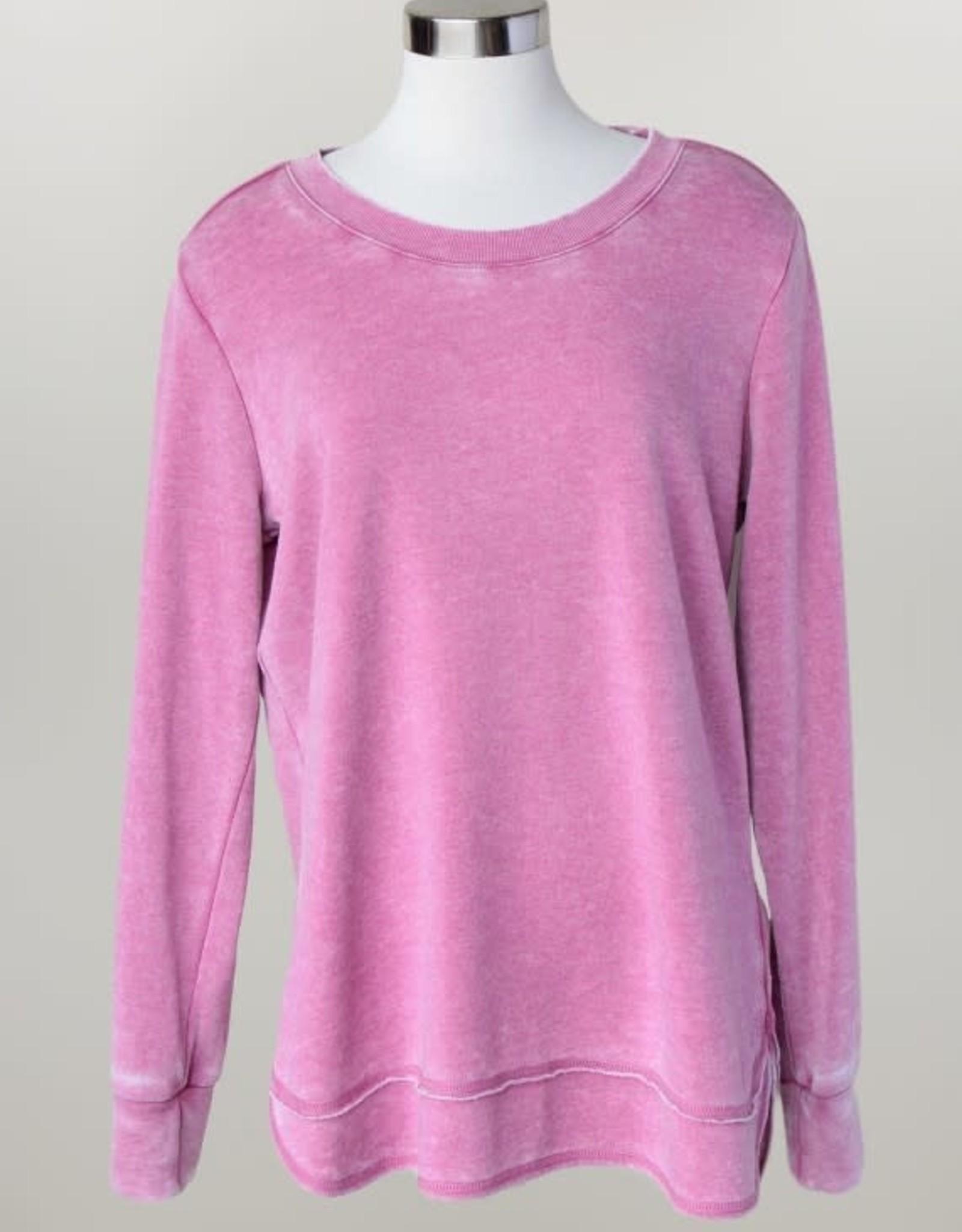 - Pink Crewneck Sweatshirt w/Scoop Hem