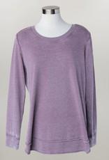 - Purple Crewneck Sweatshirt w/Scoop Hem