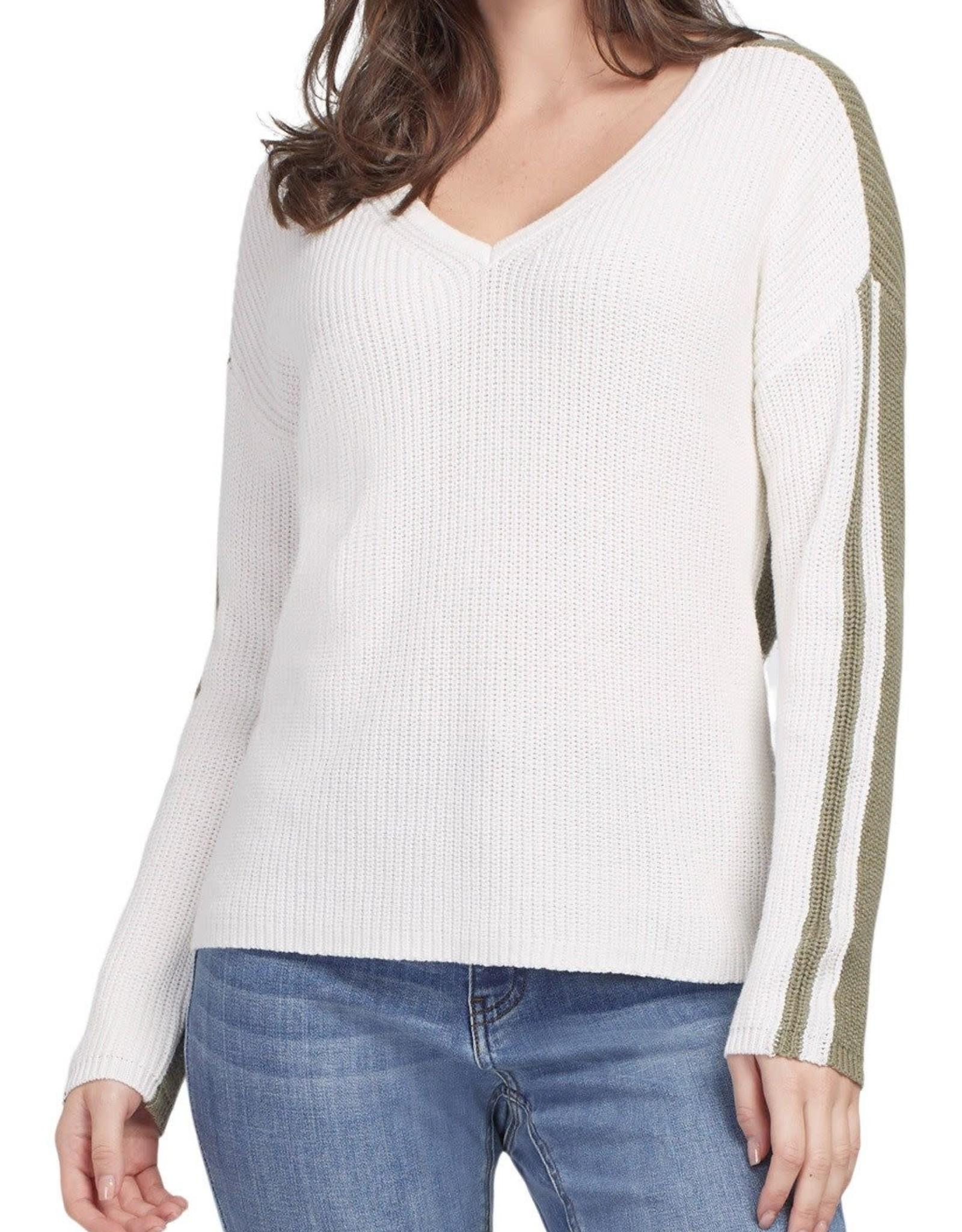 Tribal Ivory/Olive Long Sleeve V-Neck w/ Contrast Back
