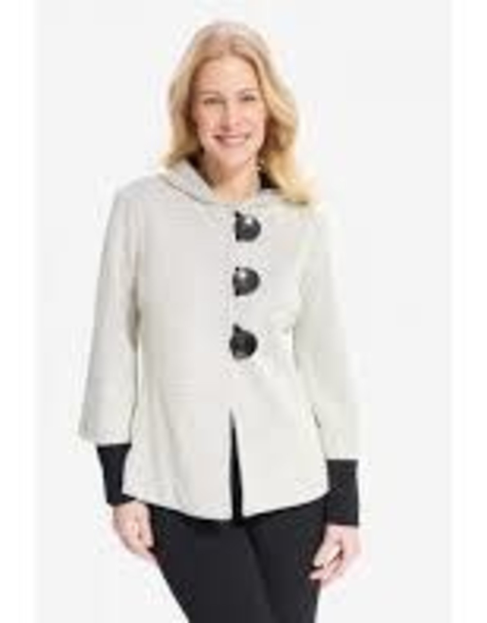 Joseph Ribkoff Cream/Black Long Sleeve Hooded Jacket w/ lg Button Detail