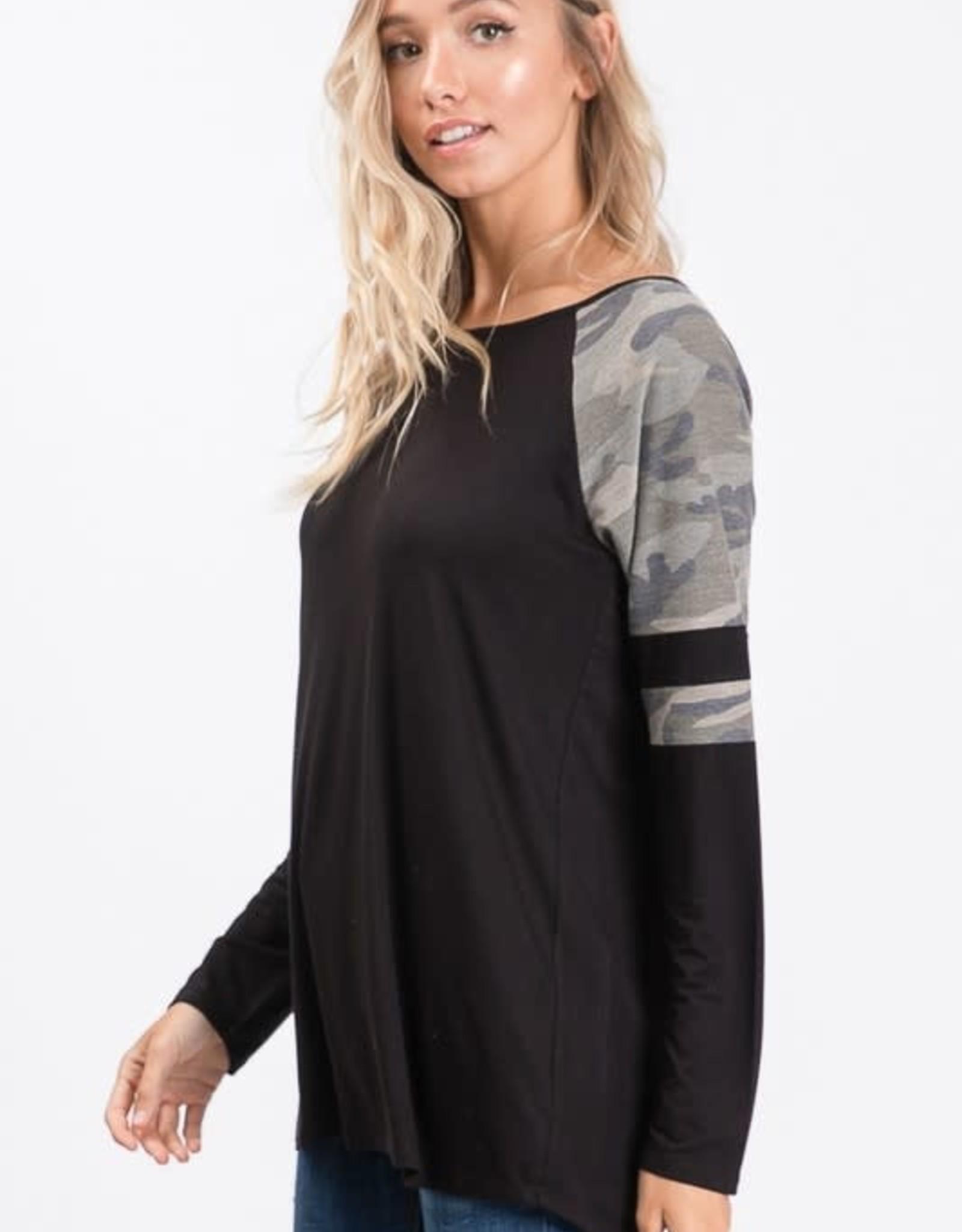 - Black/Camo Long Sleeve Round Neck Top