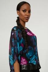 Joseph Ribkoff Black/Multi Floral Tunic w/ Sequined Waist