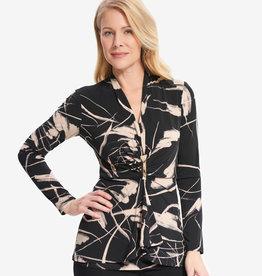 Joseph Ribkoff Black/Sand Design Tunic w/ Front Buckle