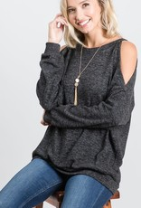 - Charcoal Heathered Long Sleeve Cold Shoulder