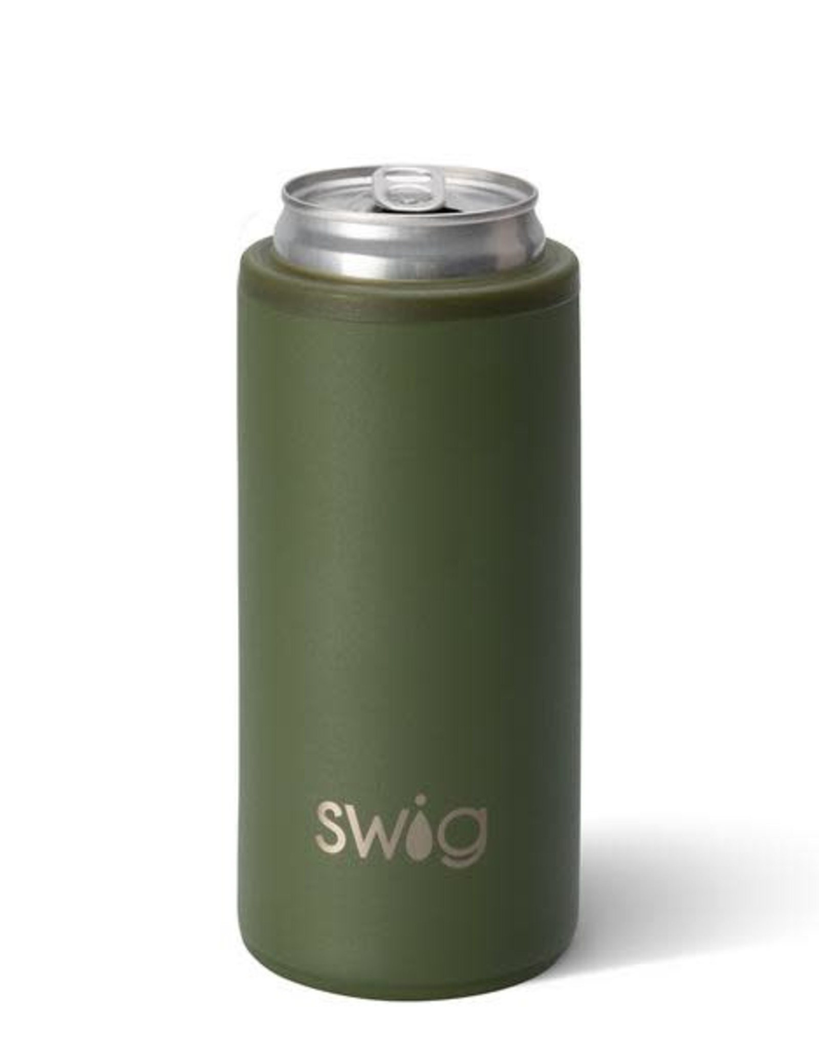 Matte Olive Stainless Steel Skinny Can Cooler