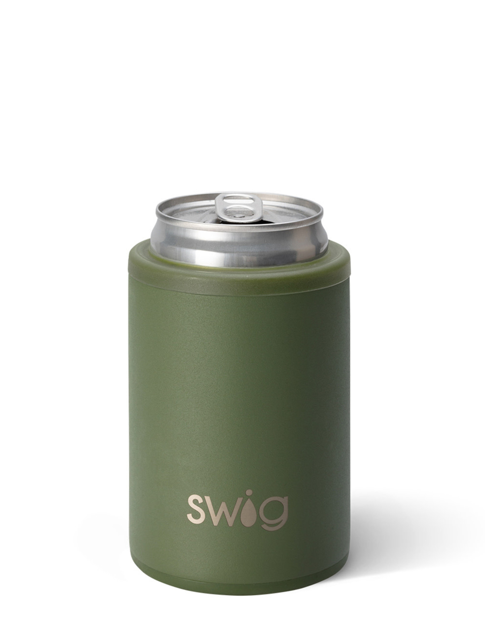 Matte Olive Stainless Steel (12 oz) Can Cooler