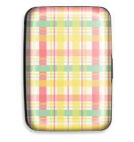 Credit Card Case Yellow Plaid