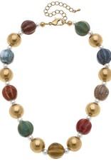 - Multi Color Ceramic Bead Necklace