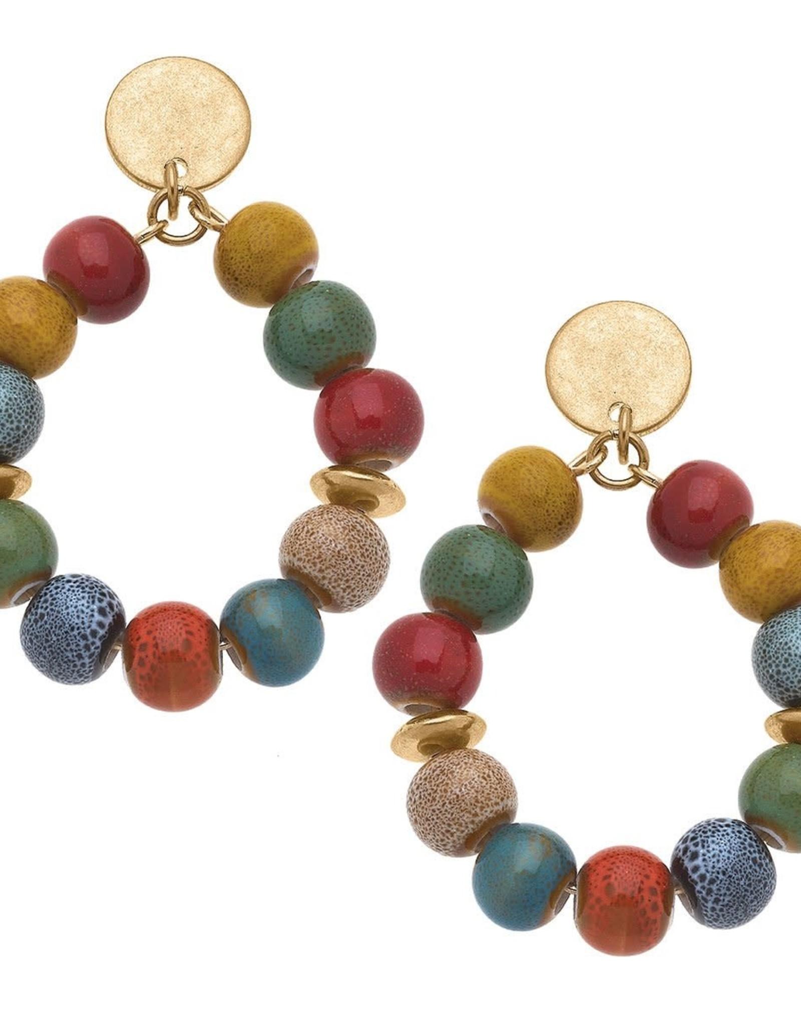 - Multi Color Ceramic Bead Teardrop Hoop Earrings