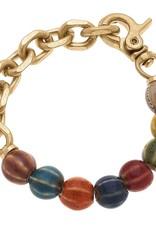 - Multi Color Ceramic Bead & Chunky Chain Bracelet