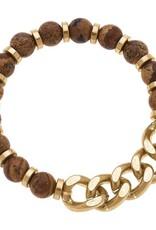 - Gold Gemstone & Chunky Chain Bracelet