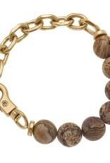 - Gold Gemstone & Chunky Chain Bracelet w/Clasp