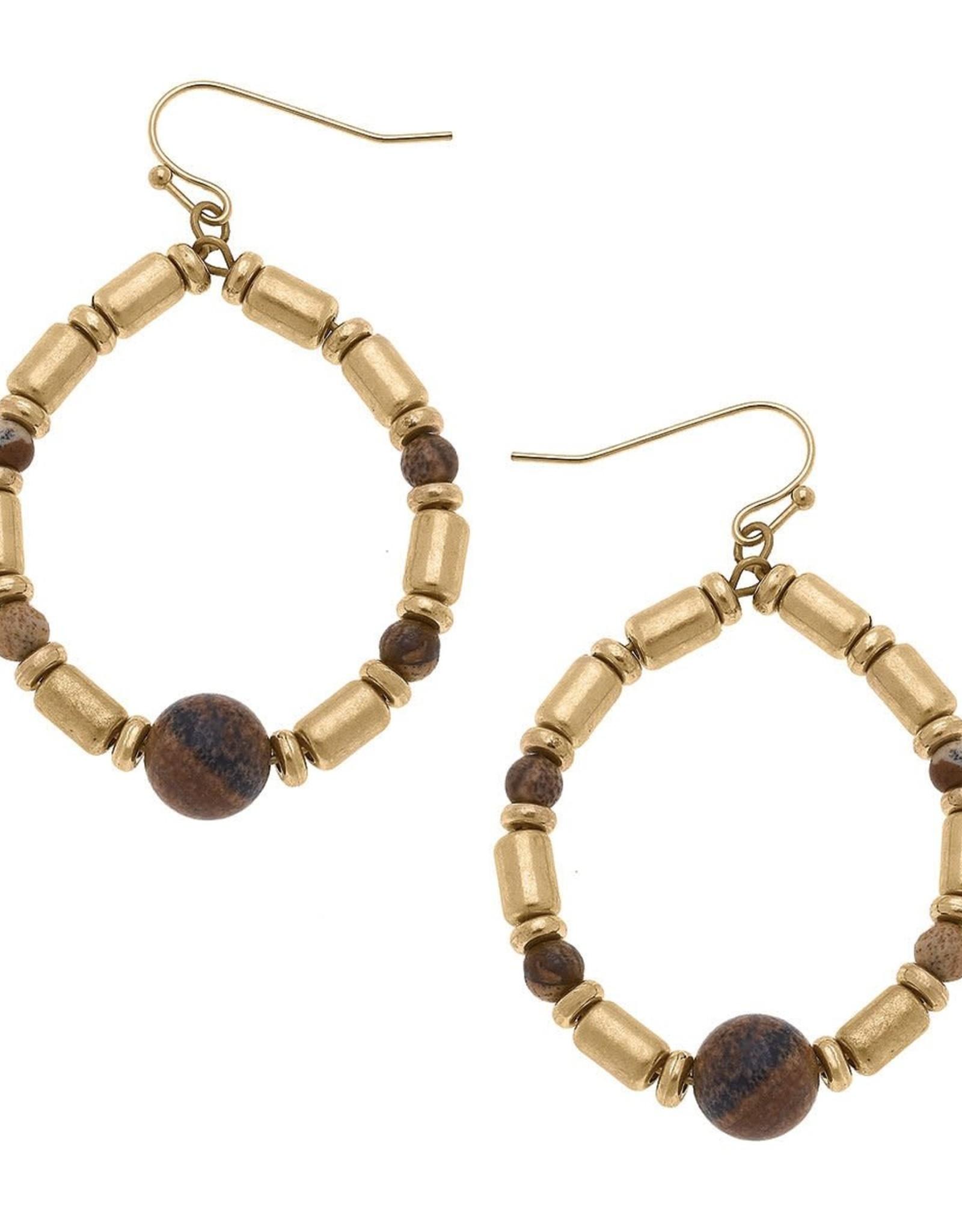 - Brown Beaded Gemstone Teardrop Earrings
