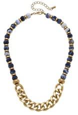 - Navy Gemstone & Chunky Chain Beaded Necklace