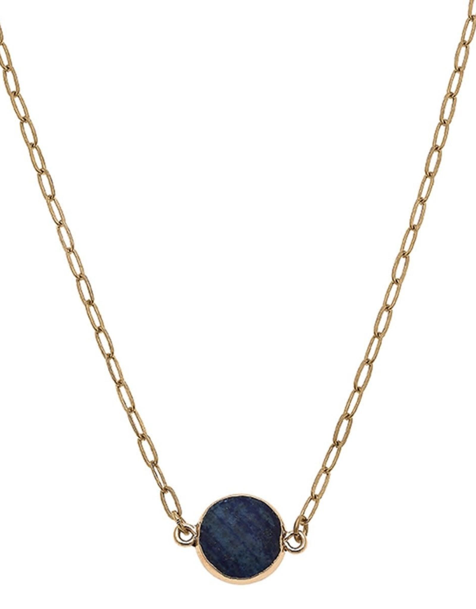 - Gold Wrapped Gemstone Disk Short Necklace