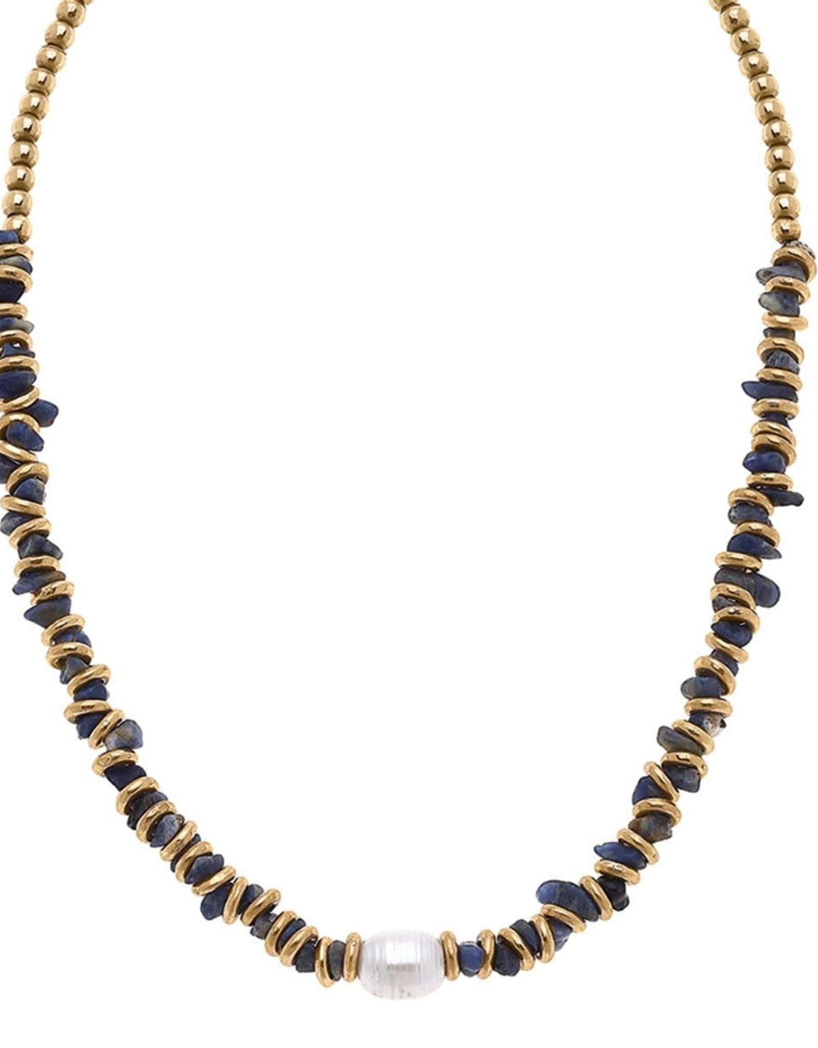 - Gold Bead & Pearl Gemstone Chip Necklace