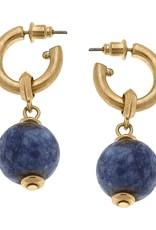 - Navy Gemstone Drop Hoop Earrings
