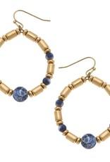 - Navy Beaded Gemstone Teardrop Earrings