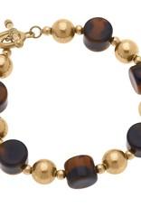 - Resin & Ball Bead T-Bar Bracelet in Tortoise