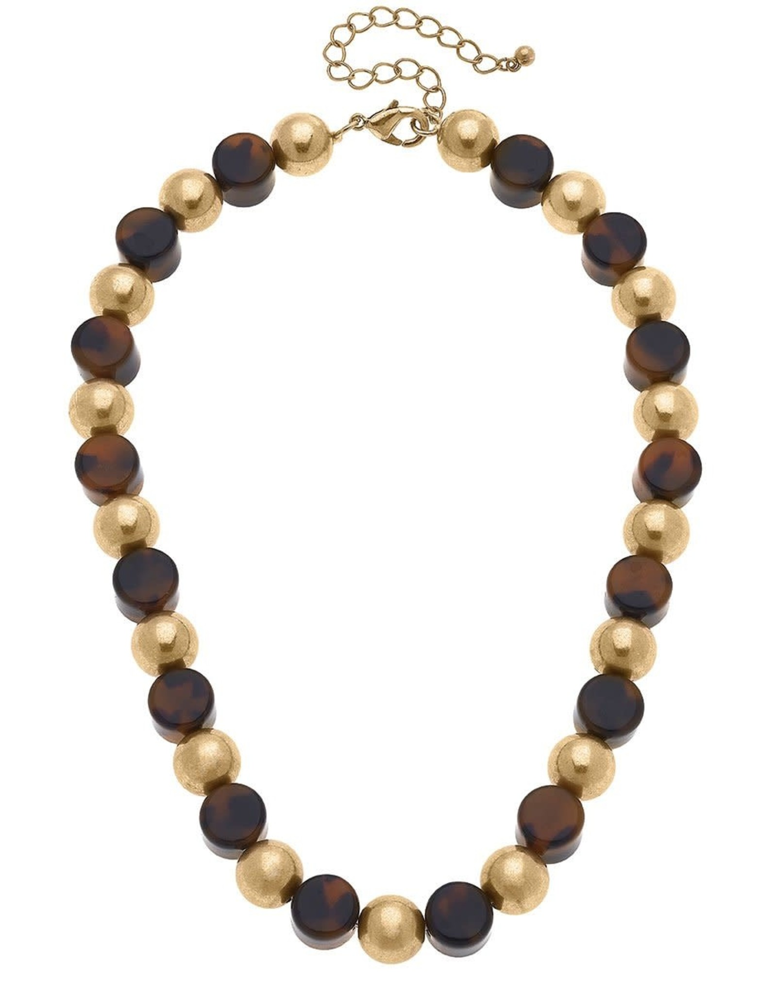 - Resin Ball & Bead Necklace in Tortoise