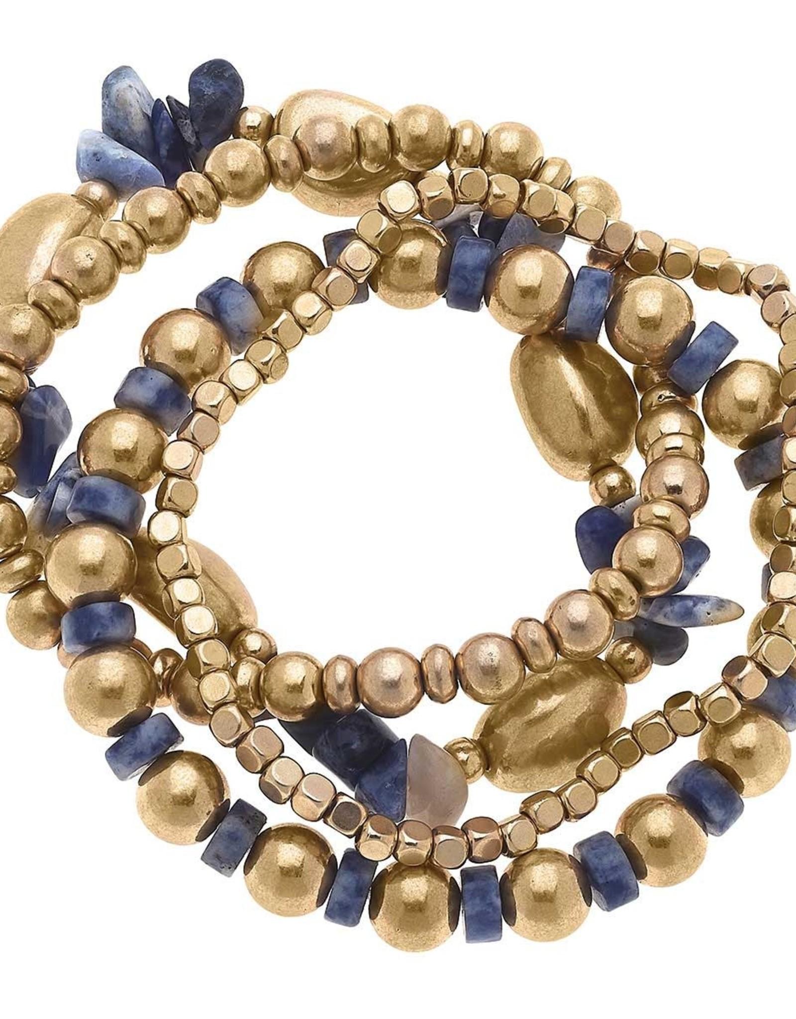 - Gold Beaded Gemstone Stack Bracelets (set of 4) in Blue